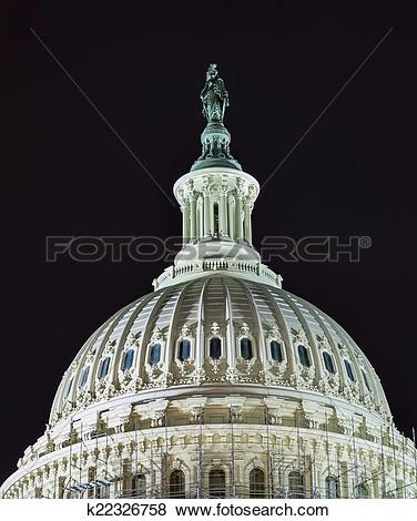 Pictures of US Capitol North Side Dome Close Up Flag Night Stars.
