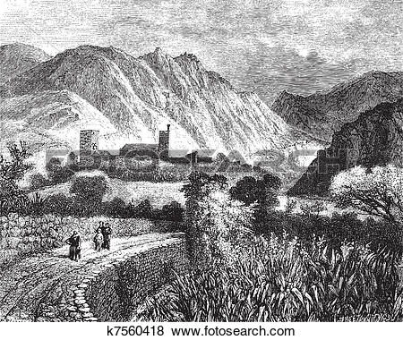 Clip Art of Le Vernet and Mount Canigou; view taken on the north.