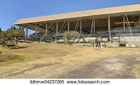 Stock Image of Covered excavation site Cacaxtla in Tlaxcala, state.