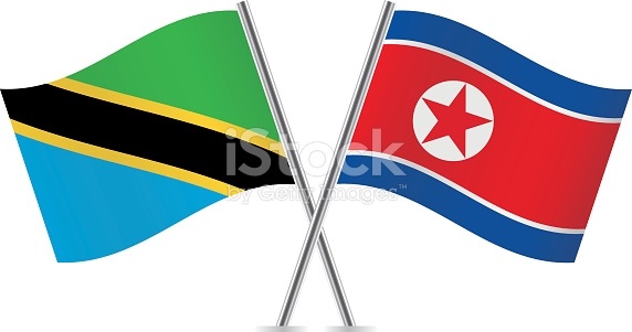 Tanzania And North Korea Flags Vector stock vector art 611101706.