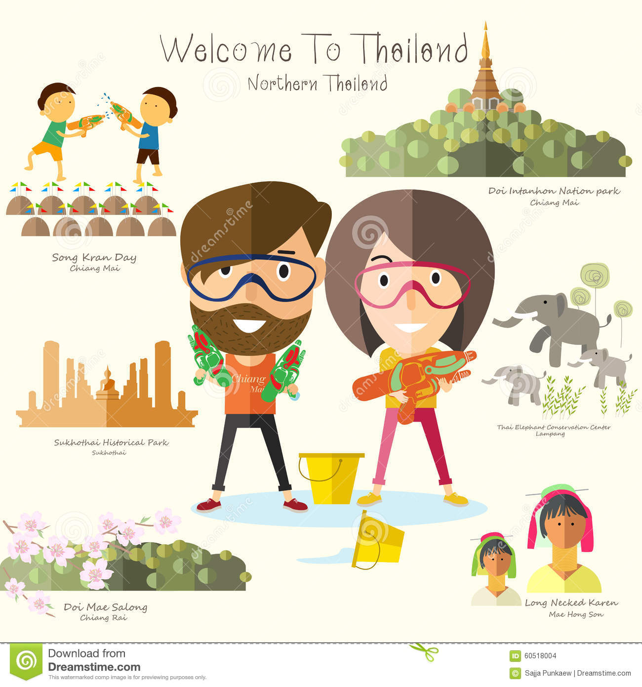 Tourist Travel To Northern Thailand Stock Vector.