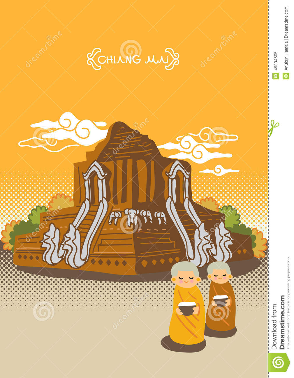 Temple Of Northern Province In Thailand Stock Vector.