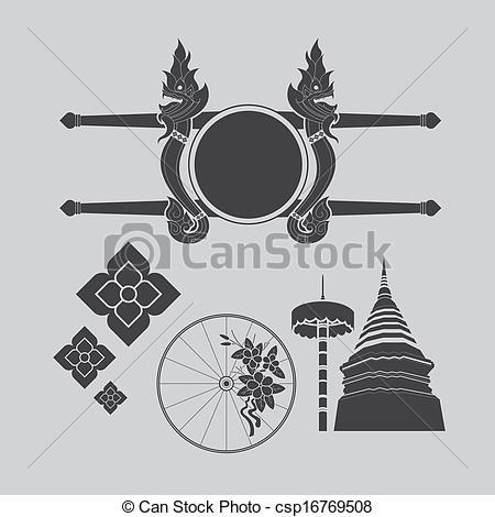 Vector Clipart of Thailand northern art design csp16769508.