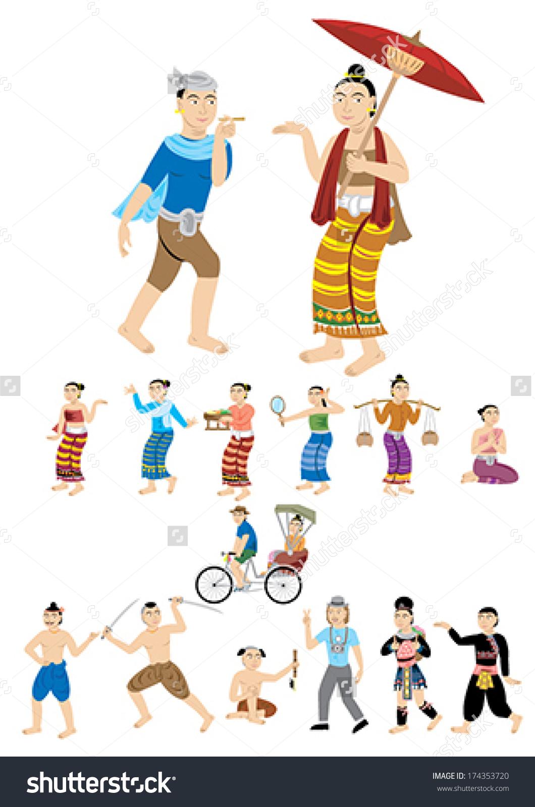 Lanna Culture Northern Thailand Stock Vector 174353720.