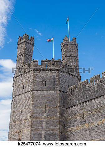 Drawings of Caernarfon Castle, North Wales k25477074.