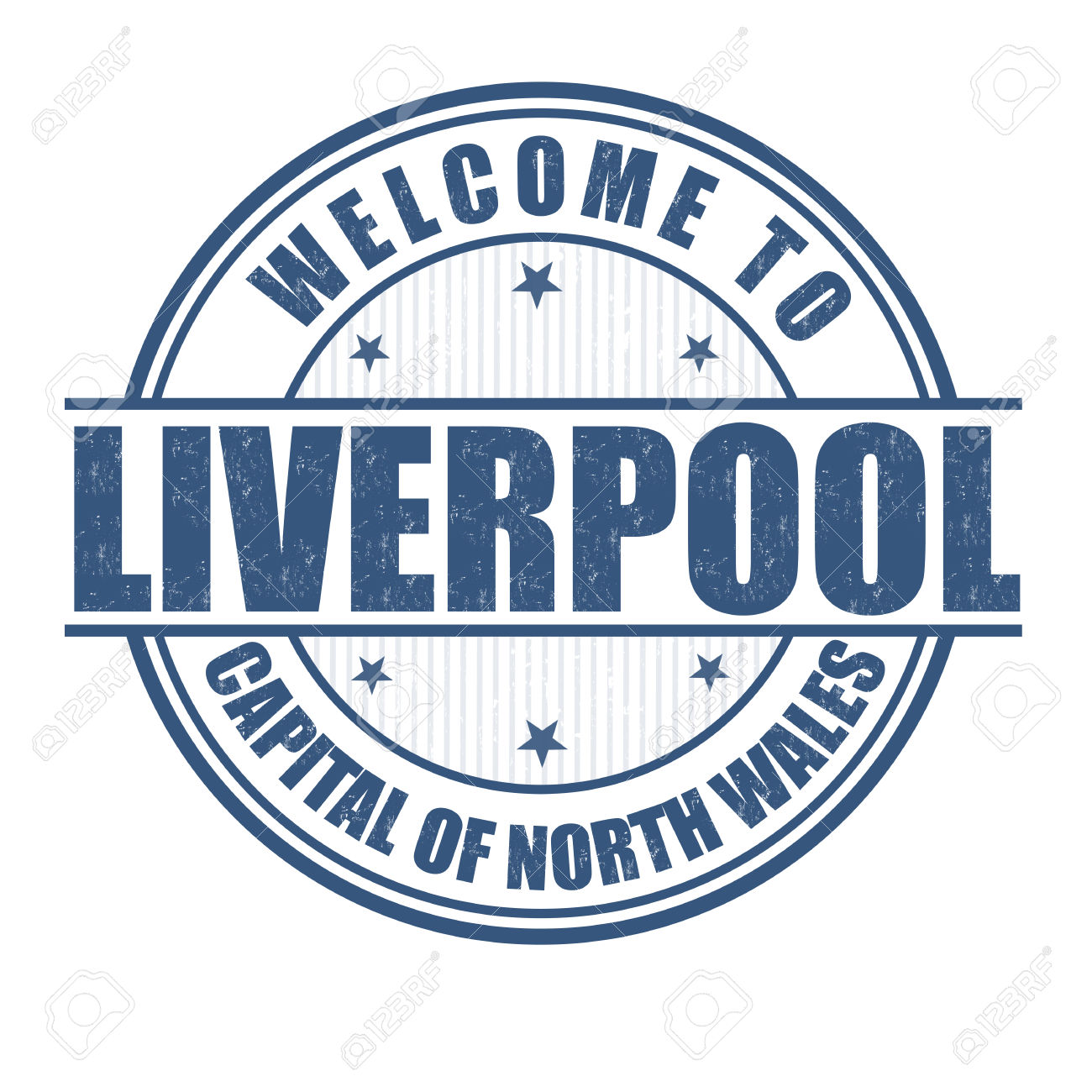 Welcome To Liverpool, Capital Of North Wales Grunge Rubber Stamp.