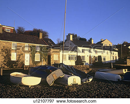 Picture of North Wales, Anglesey, Moelfre, Seafront cottages with.
