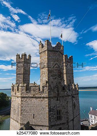 Stock Illustrations of Caernarfon Castle, North Wales k25477080.
