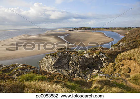 Stock Photo of View over estuary in Borth Y Gest, North Wales.