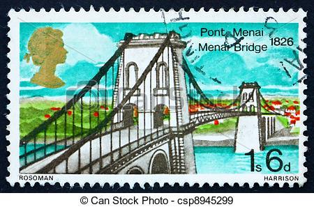 Stock Photographs of Postage stamp GB 1968 Menai Bridge, North.
