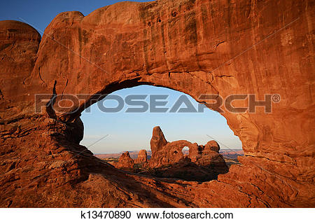Stock Photography of North Window Framing Turret Arch k13470890.