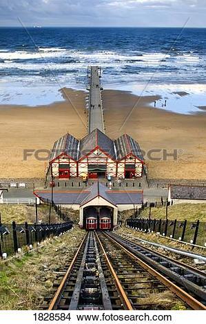 Stock Photo of Tram tracks leading to beach, Saltburn, North.