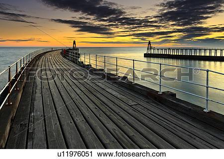 Stock Photography of England, North Yorkshire, Whitby. Sunrise.