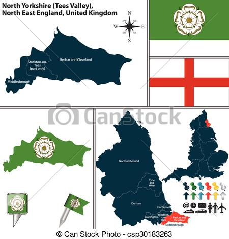 Clip Art Vector of North Yorkshire, North East England, UK.