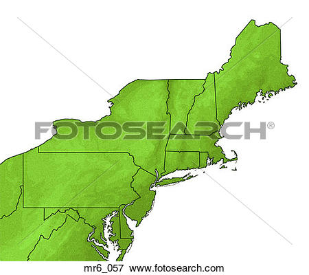Picture of map, political, northeast, new england, atlas mr6_057.