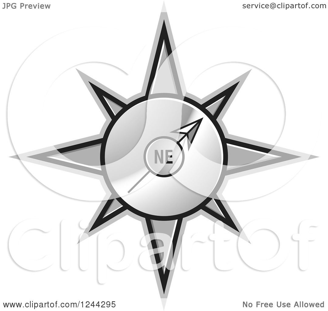Clipart of a Gold Compass Pointing North East.