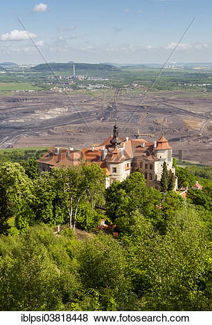 """Pictures of """"Jezeri or Eisenberg Chateau and lignite coal mines."""