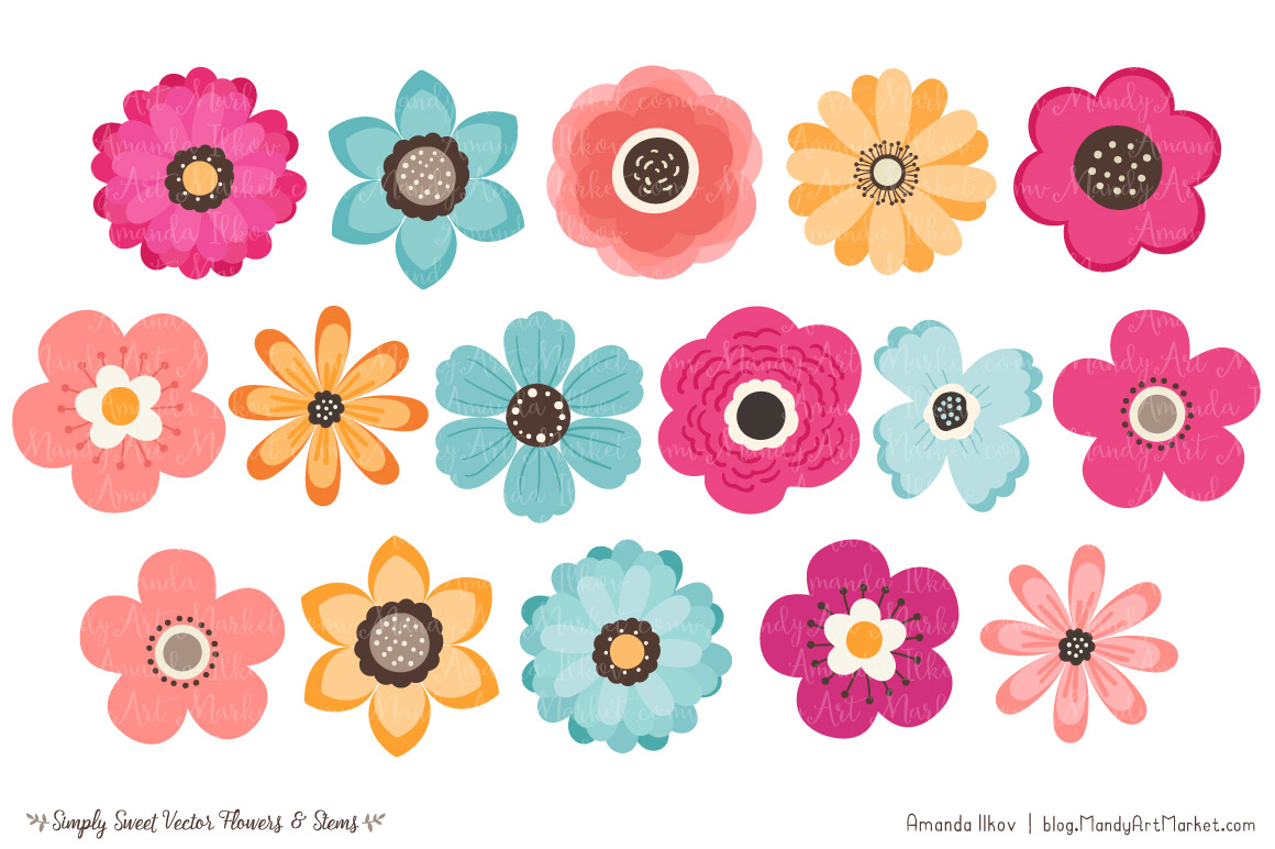 Simply Sweet Vector Flowers & Stems Clipart in Bohemian by Amanda.