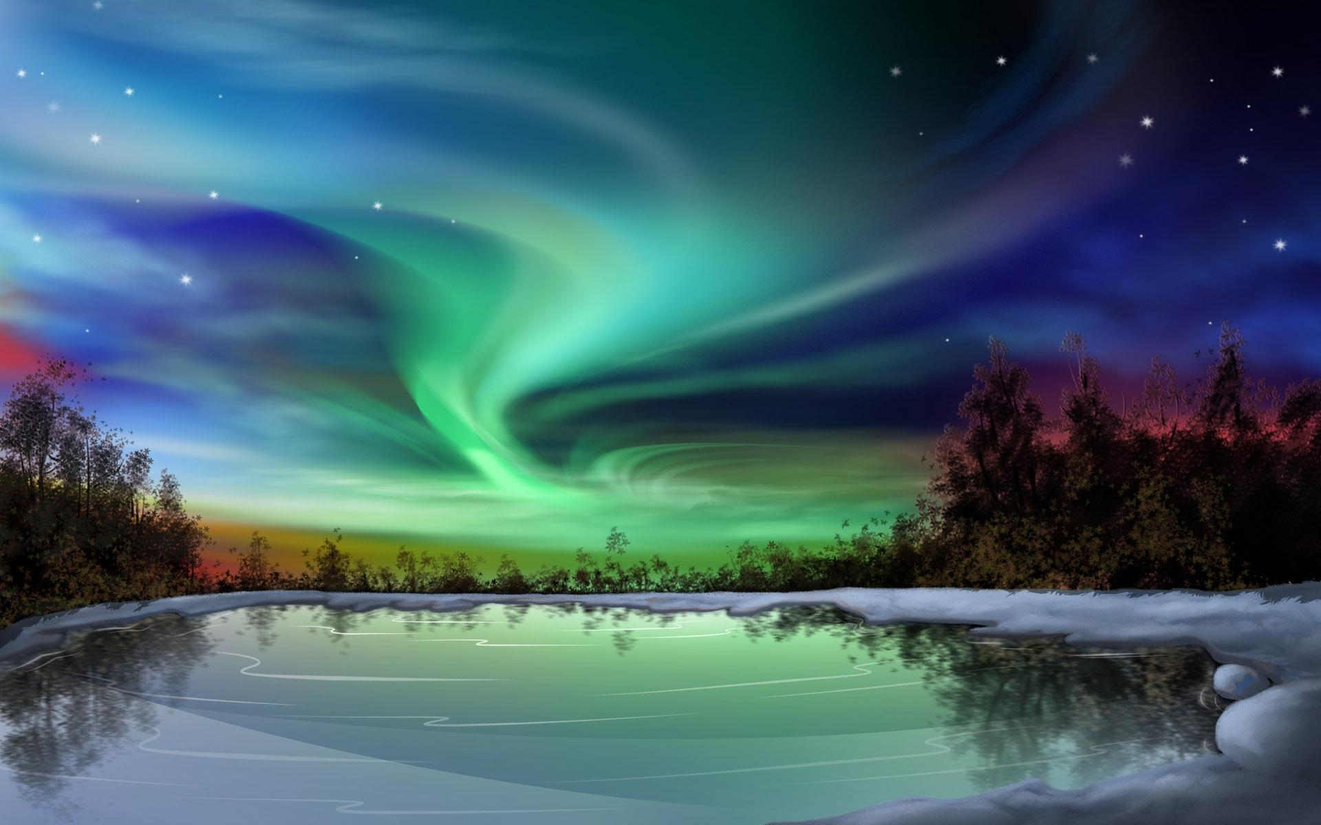 Clipart northern lights.
