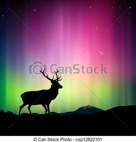 Clip Art Vector of Northern lights and deer..