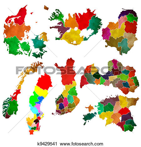 Clipart of Northern Europe k9429541.