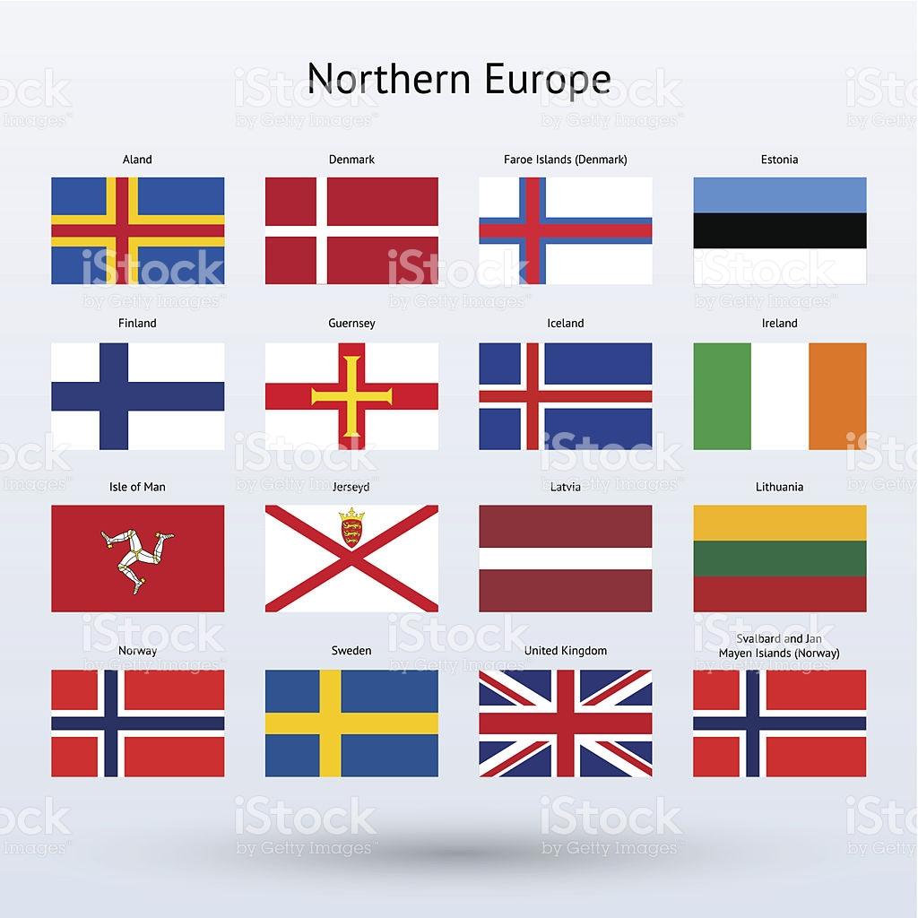 Vector Illustration Of 16 Northern European Flags stock vector art.