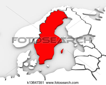 Clipart of Sweden Country Map 3d Illustrated Northern Europe.