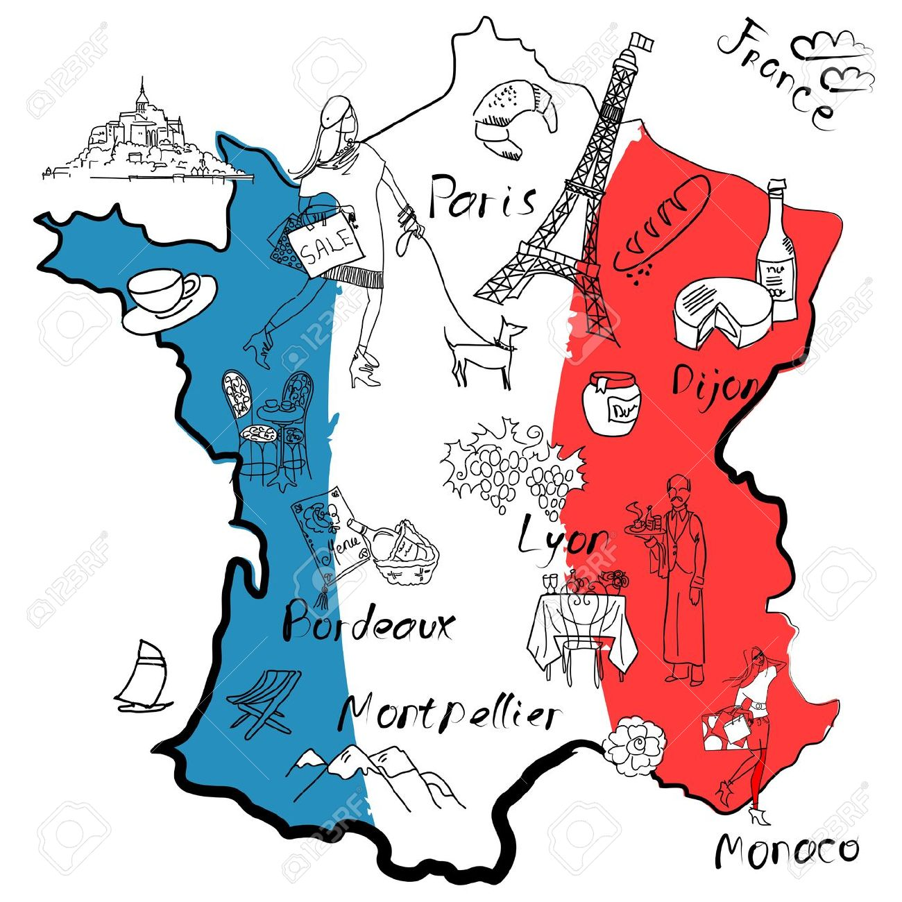 Map of france clipart.