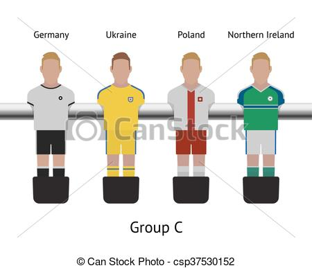 Clipart Vector of Table football game. foosball soccer player set.