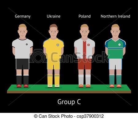 Vector Clip Art of Football players. Soccer teams. Germany.