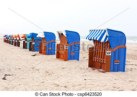 Stock Photography of Beach chairs in northern germany.
