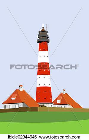 "Stock Images of ""Westerheversand Lighthouse, Westerhever, North."