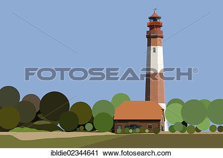 "Stock Photography of ""Fluegge Lighthouse, Fehmarn Island."