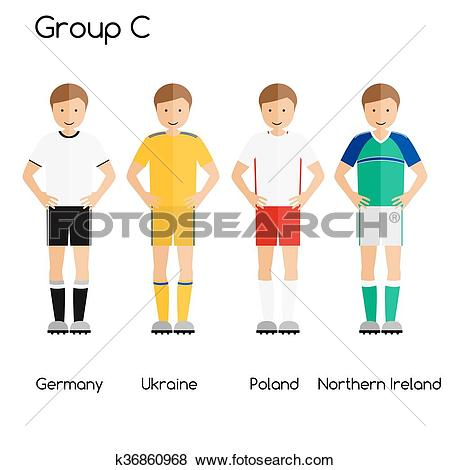 Clip Art of Football team players. Group C.