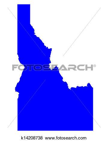 Clip Art of Map of Idaho k14208738.