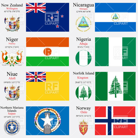 Symbolics of of New Zealand, Nicaragua, Niger, Nigeria, Niue.