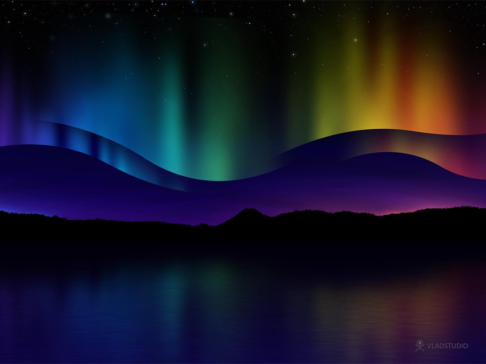 Northern lights clipart 1080p.