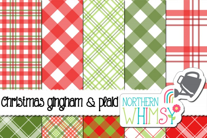 Christmas Gingham and Plaid by Northern Whimsy Design.
