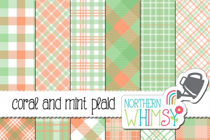 Coral and Mint Plaid Digital Paper by Northern Whimsy Design.