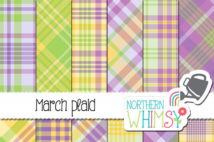 Spring Plaid Digital Paper.