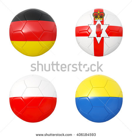 Soccer Balls Of Germany, Northern Ireland, Poland, Ukraine. 3d.