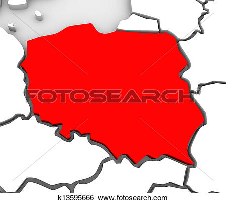 Stock Illustration of Poland Abstract 3D Map Northern Eastern.