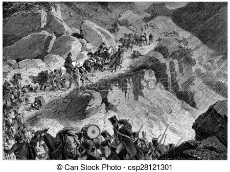 Stock Illustration of Junot's troops in the mountains of Northern.