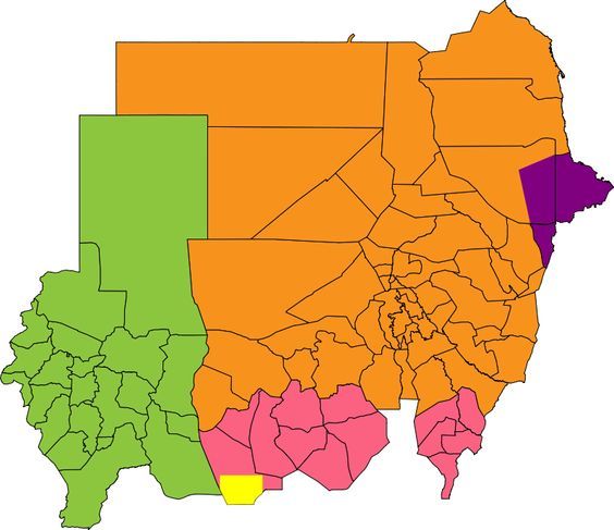 Central and northern states Darfur Eastern Front Abyei area South.