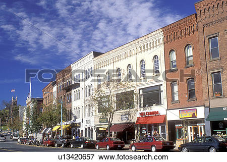 Picture of Northampton, Massachusetts, MA, Main Street in downtown.