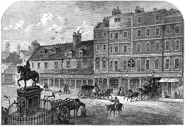 Hand Drawn Illustration Of Old Northumberland House Clip Art.