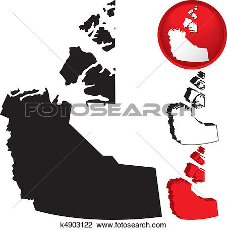 Clipart of Detailed Map of the Northwest Territories, Canada.