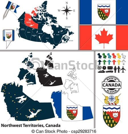 Vector Clip Art of Map of Northwest Territories, Canada.