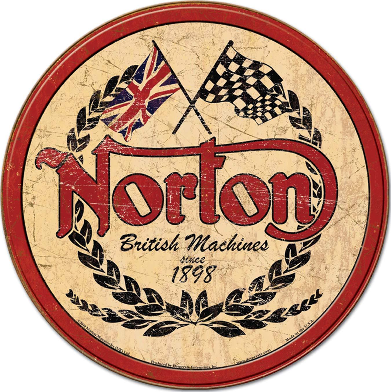 Desperate Enterprises Norton Logo Round Tin Sign, 11.75\