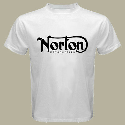 New Norton Logo Classic Motorcycles Men\'s White T.